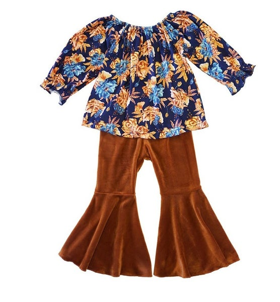 Navy floral with bell pants set