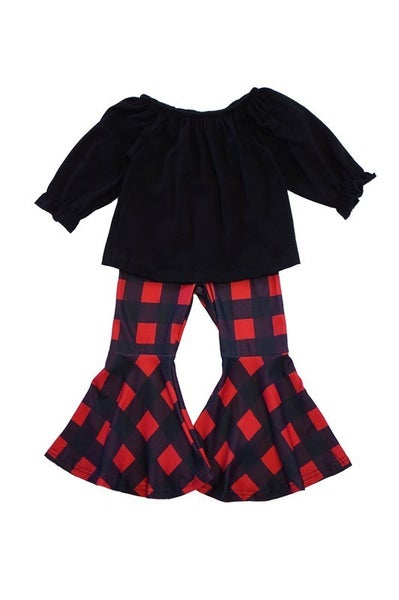 Black red gingham bell pants set