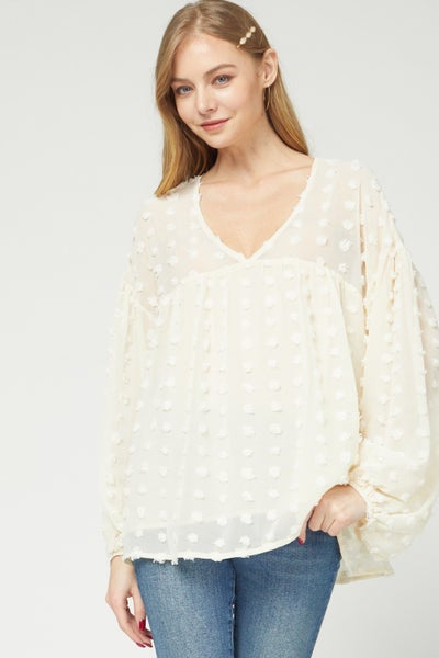 Dotted-swiss v-neck babydoll top