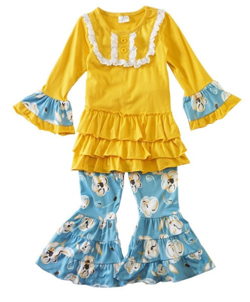 mustard mint floral bell pants set