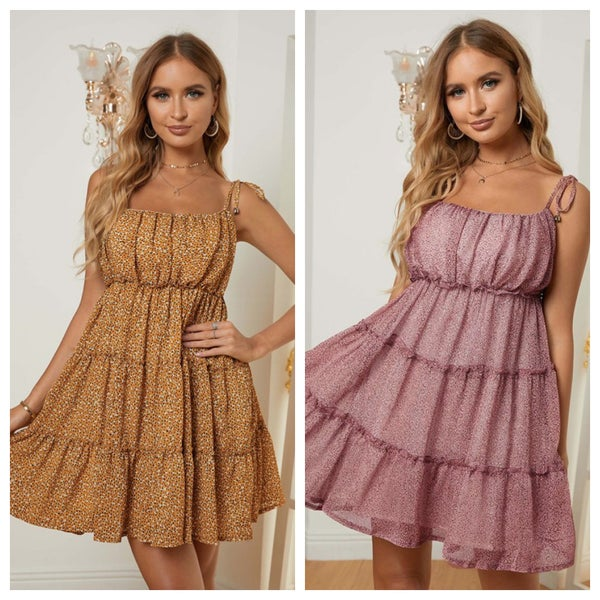 THIN STRAP RUFFLE DRESS