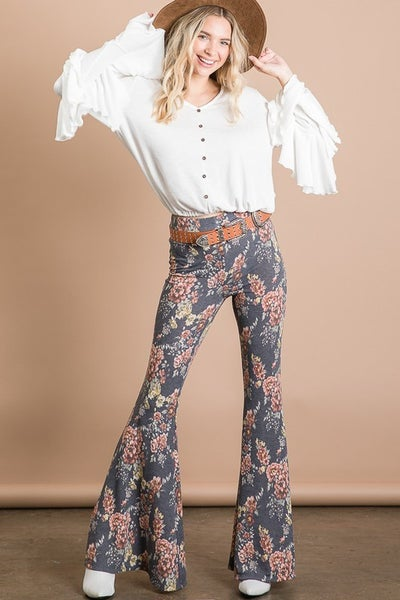 Soft Women's Jersey Floral Print Flare Pants