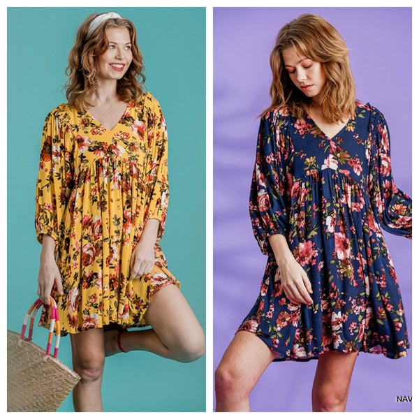 Floral Print Long Puff Sleeve Babydoll Dress
