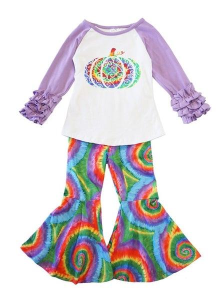 Rainbow pumpkin bell pants set