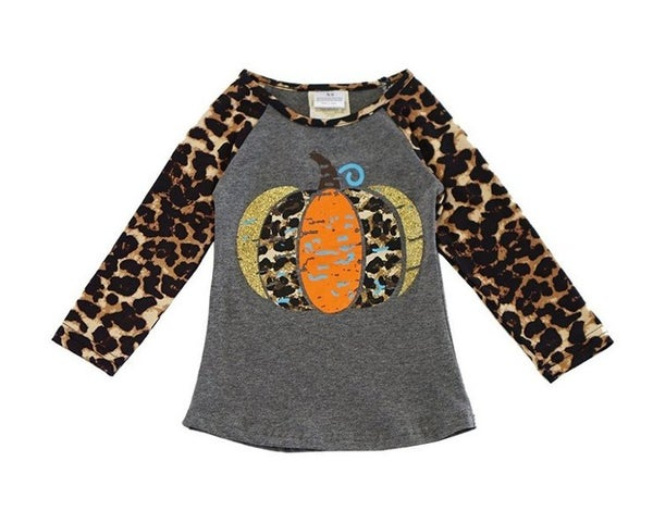 Grey leopard pumpkin raglan shirt mom & me (Kids sizes)