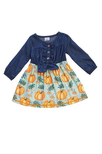 Pumpkin denim tie front dress