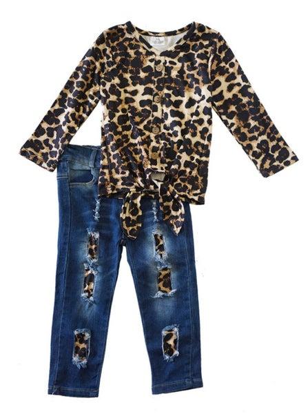 leopard tie front shirt with denim jeans set