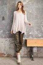 RIB KNIT KHAKI TOP