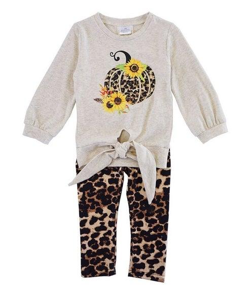 Leopard pumpkin tie front tunic pants set