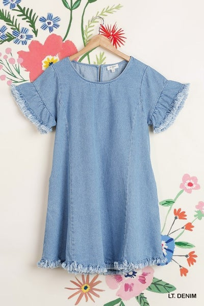 RAYED HEM DENIM DRESS WITH POCKETS