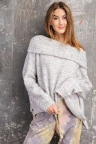 COWL NECK GREY KNITTED SWEATER
