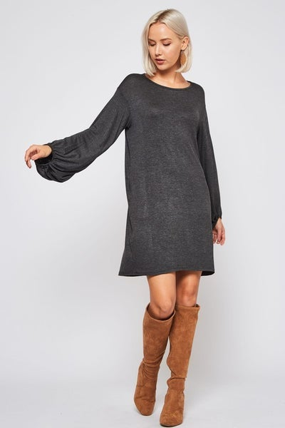 SHIFT DRESS WITH BISHOP SLEEVES