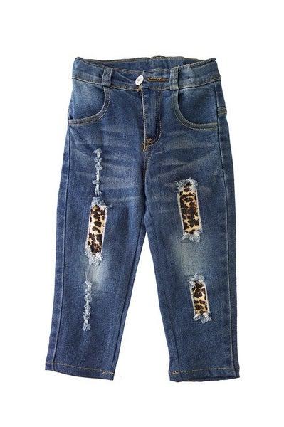 Leopard distressed denim jeans