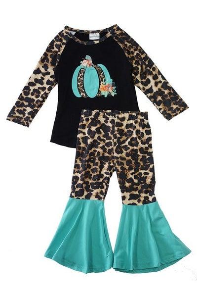 Blue leopard pumpkin bell pants set
