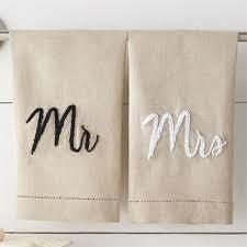 """MUDPIE """"MR. AND MRS."""" LINEN TEA TOWEL SET"""