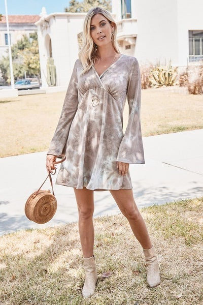 TIE DYE FRENCH TERRY DRESS WITH BELL SLEEVES