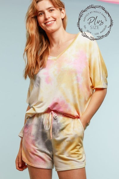 plus tie dye vneck short sleeve top