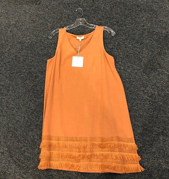 Umgee Light Burnt Orange Dress w/ Fringe