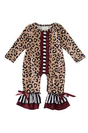 Leopard maroon baby romper