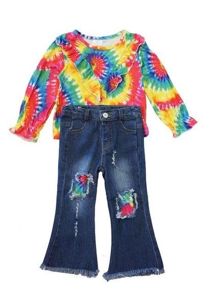 Tie dye ripped jeans set