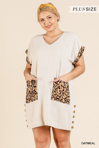 ANIMAL PRINT VNECK BUTTON DRESS