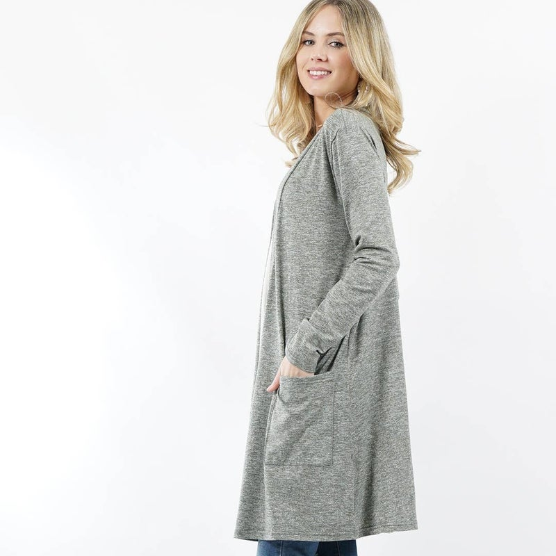Long Sleeve Slouchy-Pocket Open Cardigan