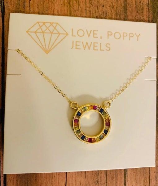 Rainbow Circle Pendant Necklace