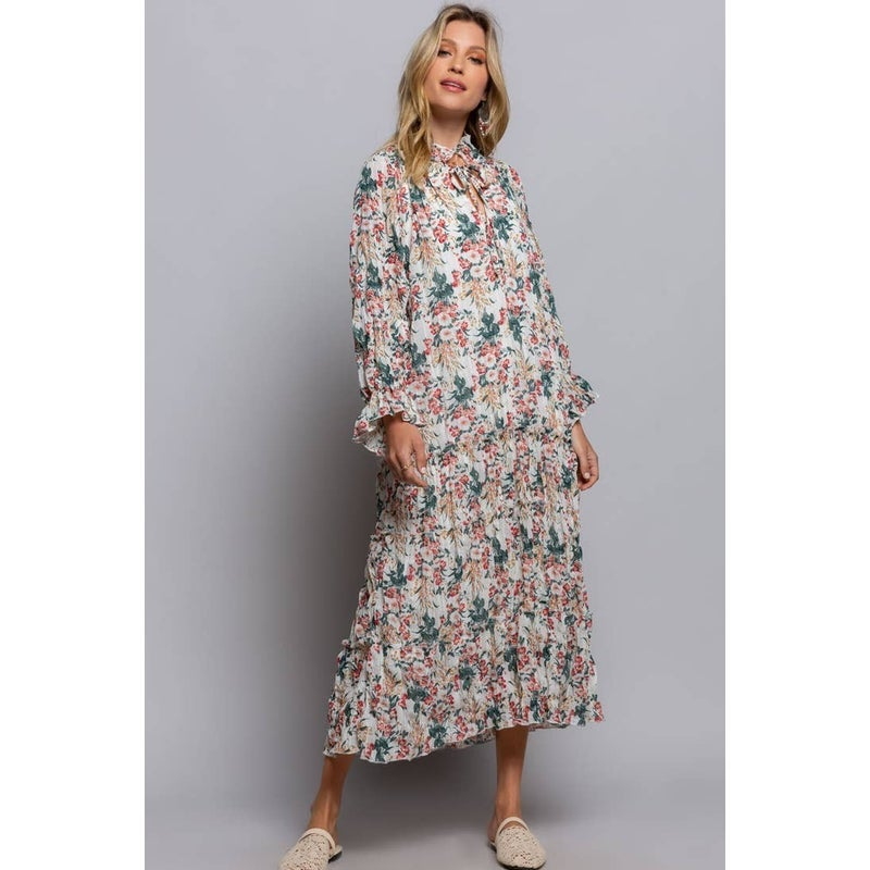 Moon Cycle Floral Boho Dress