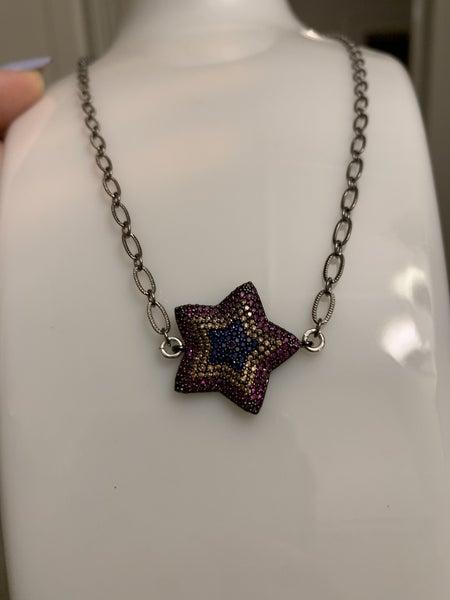 Glam Star Gunmetal Necklace