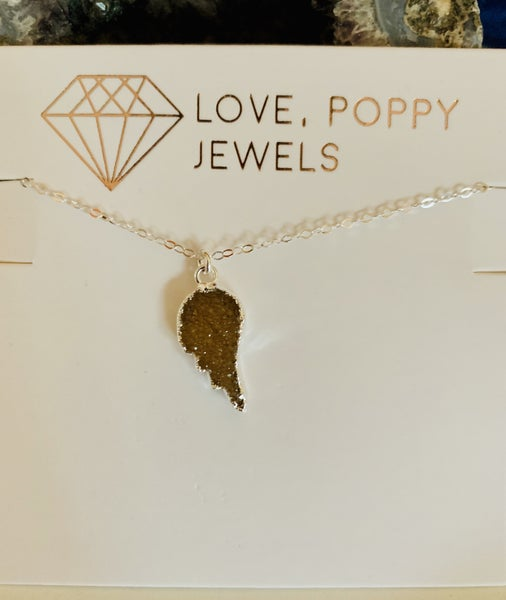 Angels from Above Druzy Necklace Silver