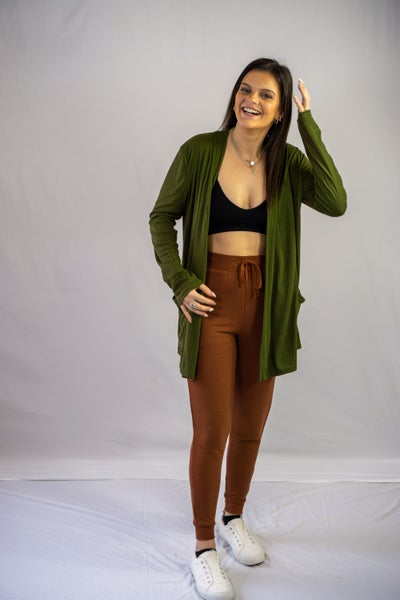 Olive Field Ribbed Cardigan