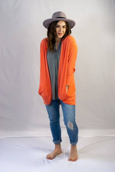 Coral Cocoon Open Cardigan