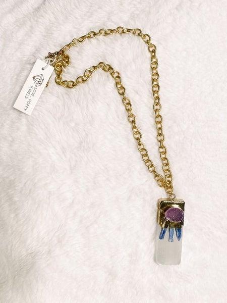 Selenite Purple Druzy Necklace