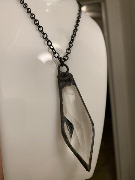 Glass Dagger Gunmetal Necklace