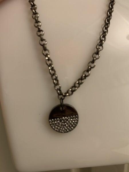 Baby Bling Circle Gunmetal Necklace