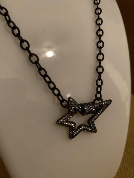 Lightning Bolt Gunmetal Necklace