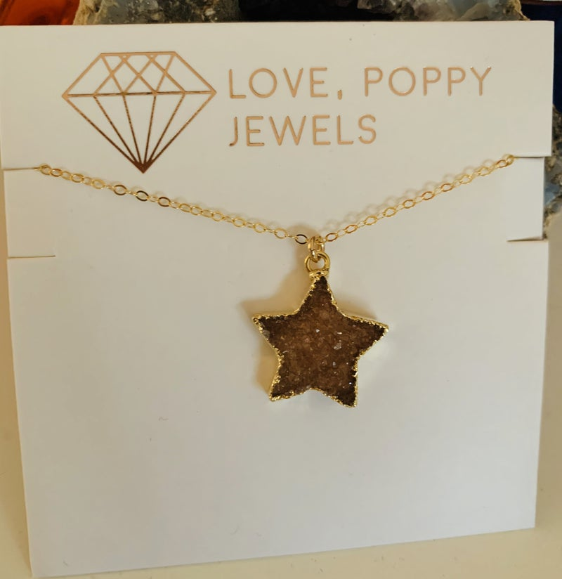 Stars in Her Eyes Druzy Necklace Gold