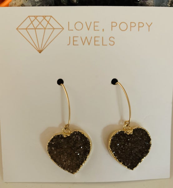Fill Your Heart Druzy Earrings Gold