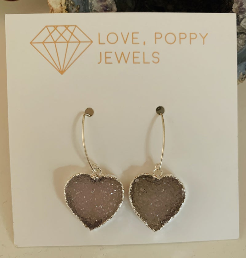 Fill Your Heart Druzy Silver Earrings