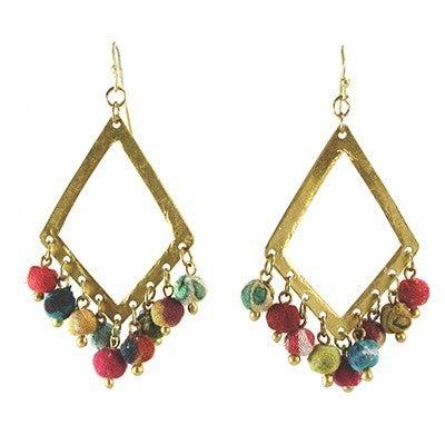 Dangling Kantha Kite Earrings