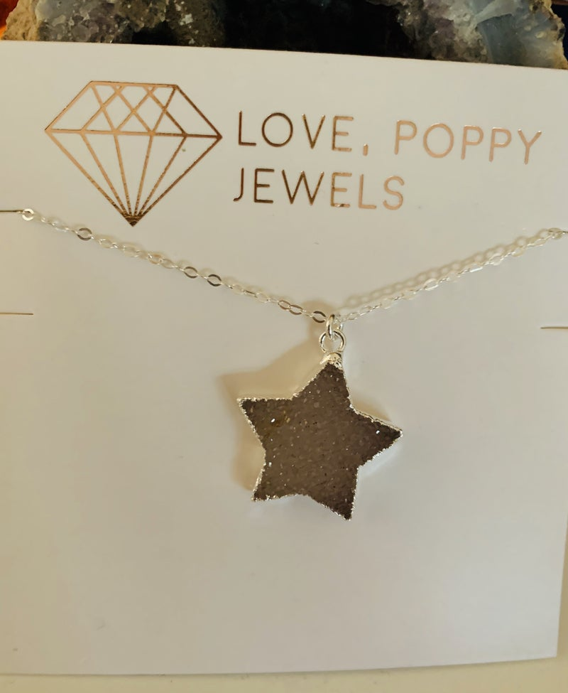 Stars in Her Eyes Druzy Necklace Silver