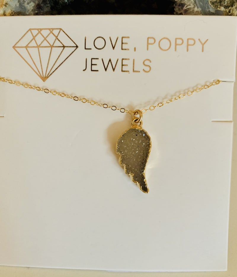 Angels from Above Druzy Necklace Gold