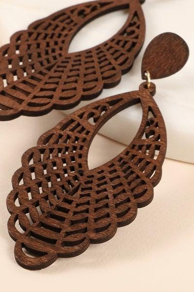 Tear drop wooden earrings