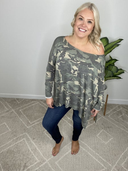 The Essential Camo Off The Shoulder Top