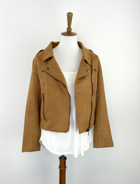 Carolina Camel Suede Zipper Jacket