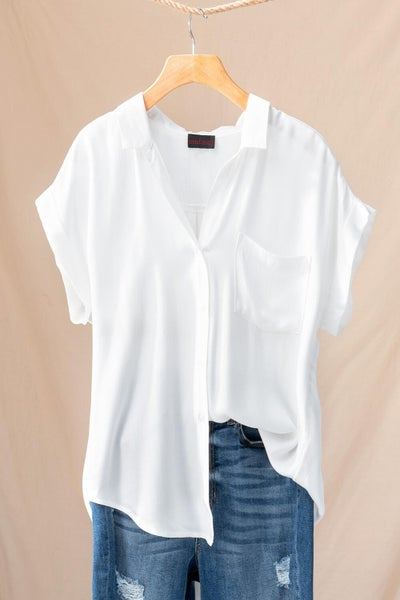 The Daniella White Denim Button Down Top