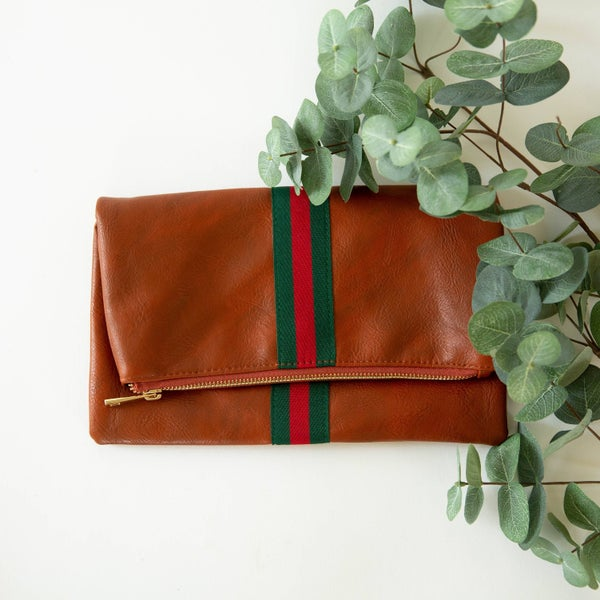 The Preppy Green + Red Stripe Fold Over Clutch