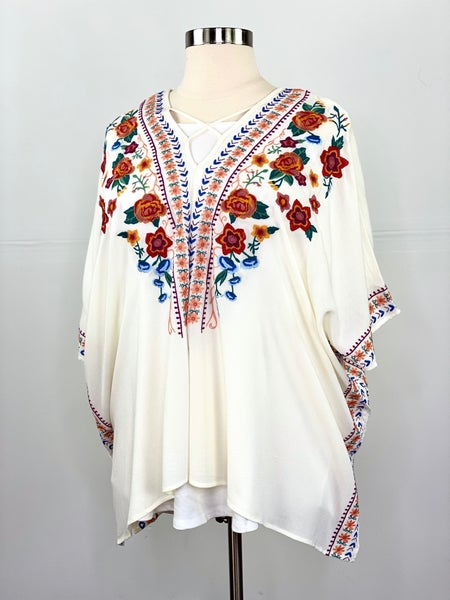 The Felicity Floral Poncho Top in Cream