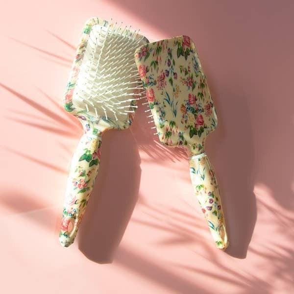Floral Rectangular Paddle Hair Brush