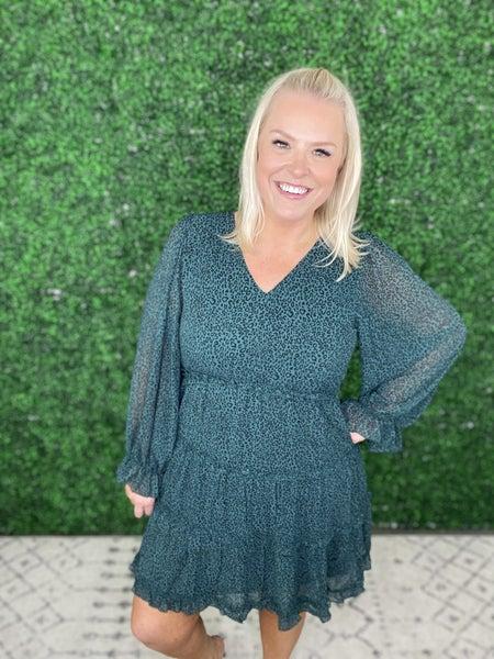 The Ophelia Green Open Back Leopard Dress